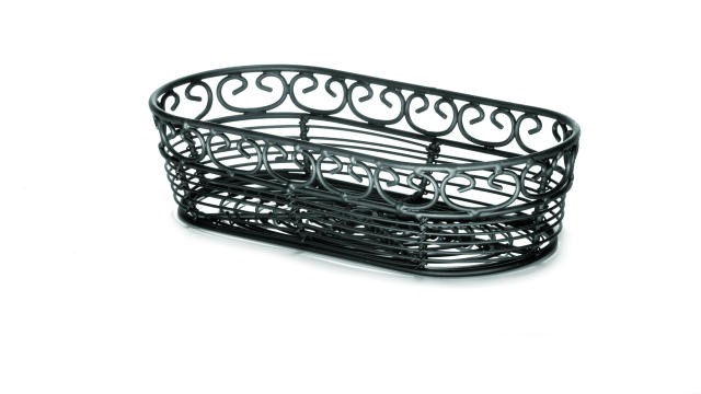 "TableCraft BK21709 Mediterranean Black Metal Oblong Sub Basket 9"" x 4"" x 2"""