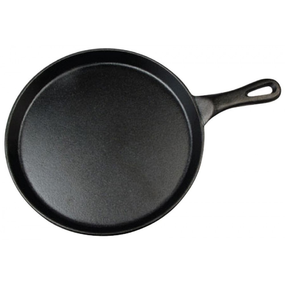 Black Coated Round Cast Iron Grill Pan - 10
