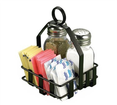 TableCraft 606RBK Black Condiment Rack for Salt & Pepper Shakers, Sugar Packets