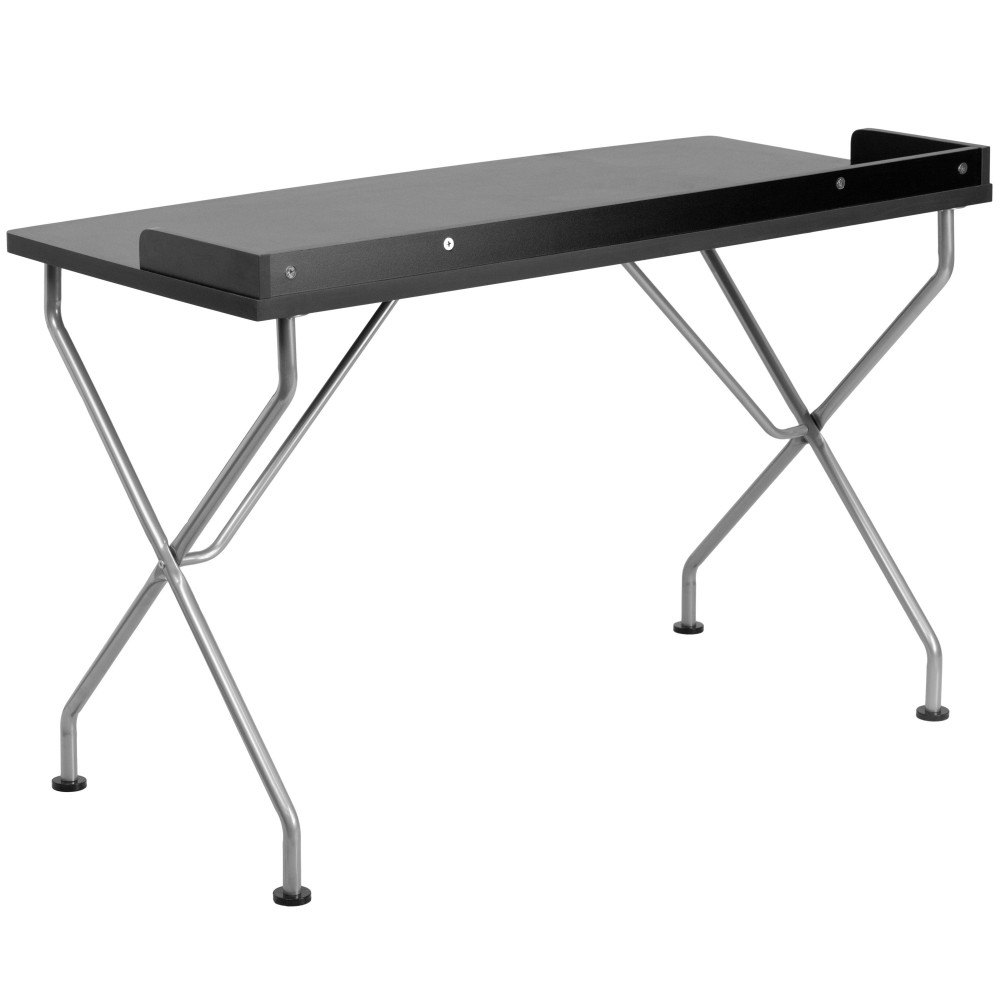 Black Computer Desk with Silver Frame W / Edged Lip