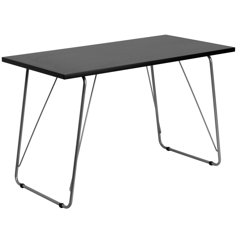 Computer Desk, Black , with Silver Frame