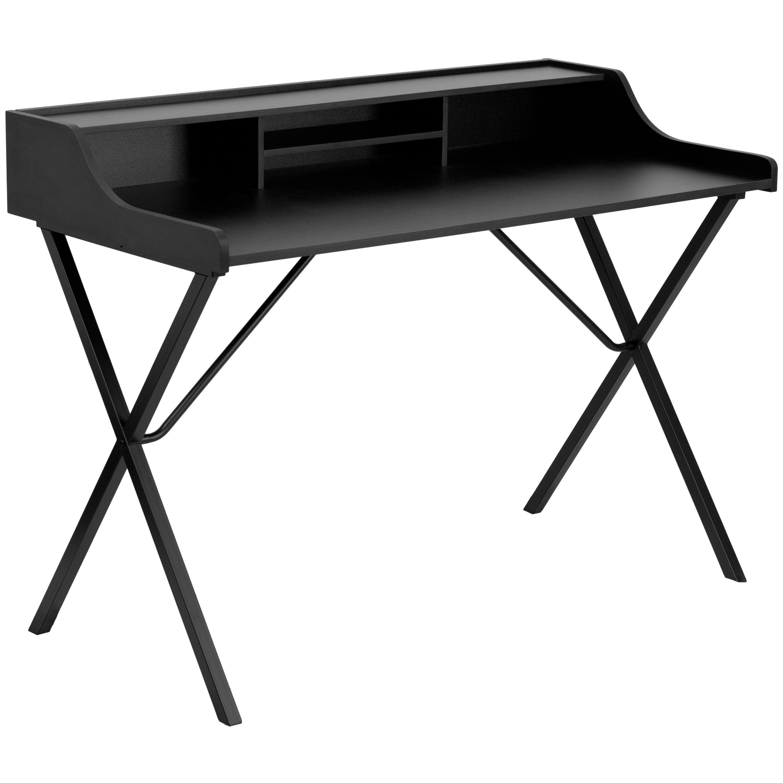 Flash Furniture NAN-2124-GG Black Computer Desk with Top Shelf