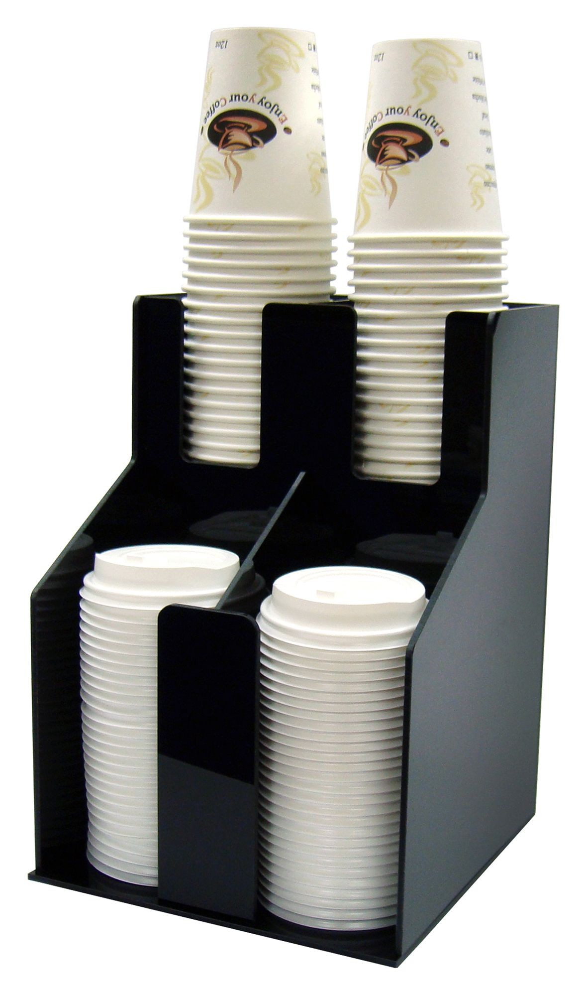 Winco CLO-2D Black Cup and Lid Organizer 2 Tiers 2 Stacks