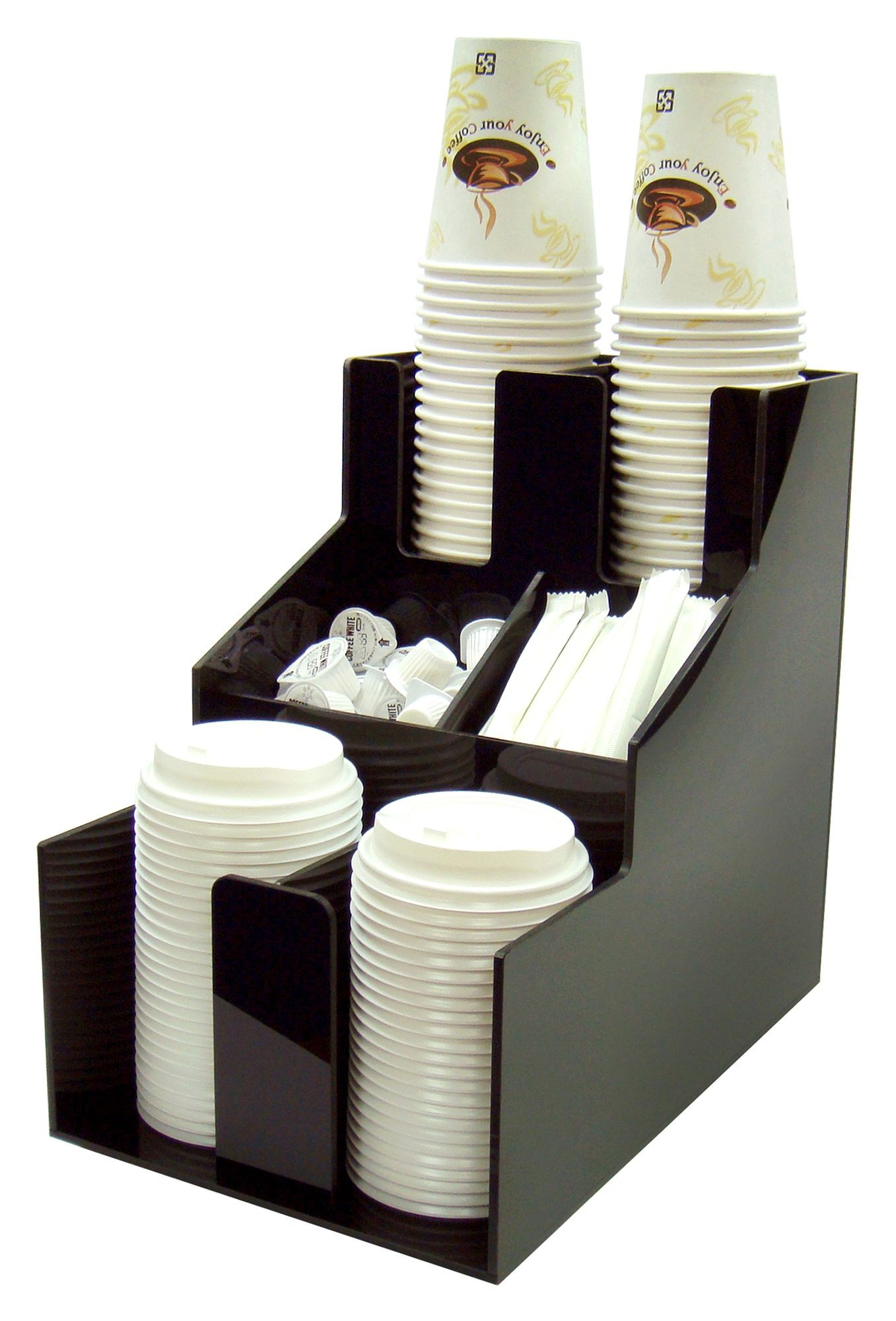 Winco CLSO-2T Black Cup and Lid Organizer 3 Tiers 2 Stacks