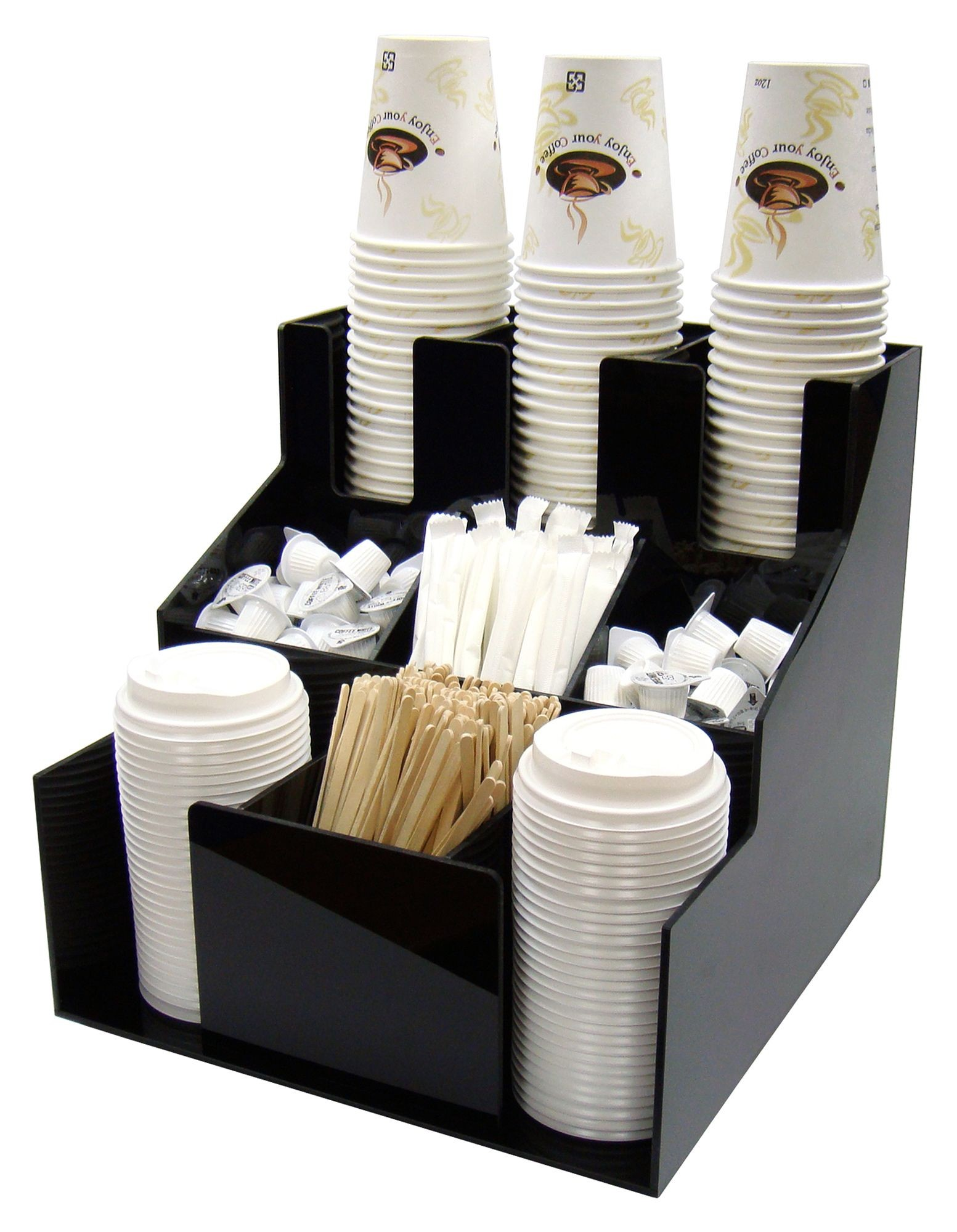 Winco CLSO-3T Black Cup and Lid Organizer, 3 Tiers, 3 Stacks