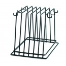 TableCraft CBR6BK Black Vinyl Cutting Board Storage Rack with Hooks