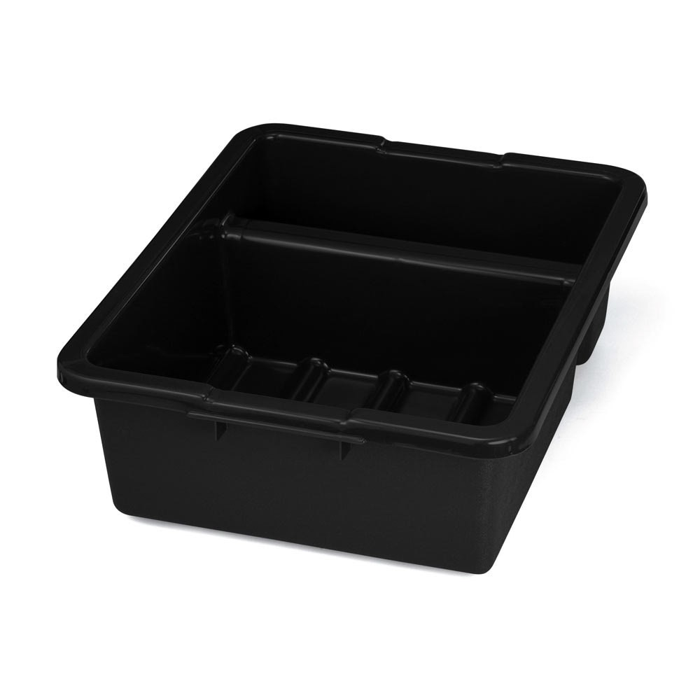 "TableCraft 1547B Black Heavy Duty Divided Tote Box 15"" x 22"" x 7"""