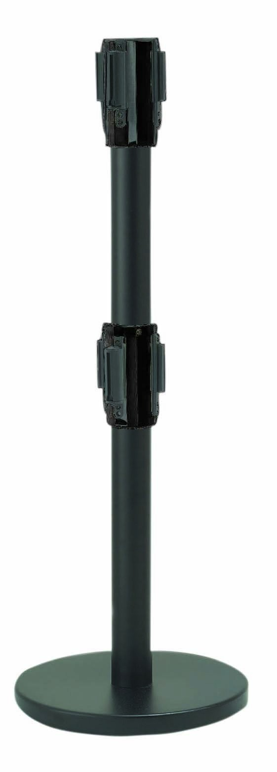 Black Dual Belt Form-A-Line Stanchion (Shown in Chrome)