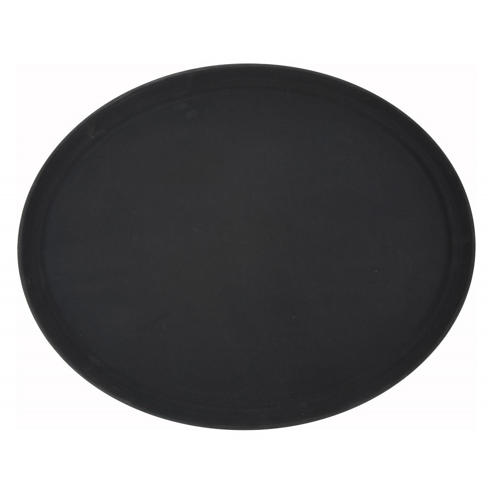 "Winco TRH-2722K Black Easy Hold Oval Tray 22"" x 27"""