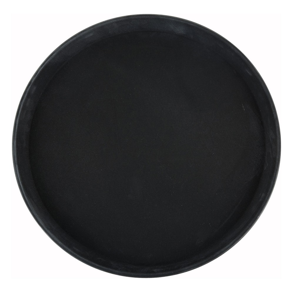 Winco TRH-14K Black Easy Hold Round Tray 14""