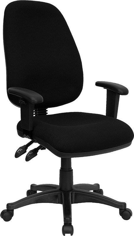 Flash Furniture BT-661-BK-GG Black Ergonomic Computer Chair with Height Adjustable Arms