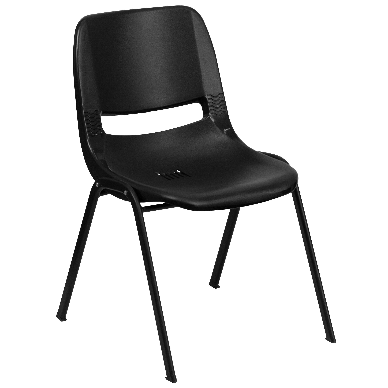 Flash Furniture RUT-EO1-BK-GG HERCULES Series 880 Lb. Capacity Black Ergonomic Shell Stack Chair