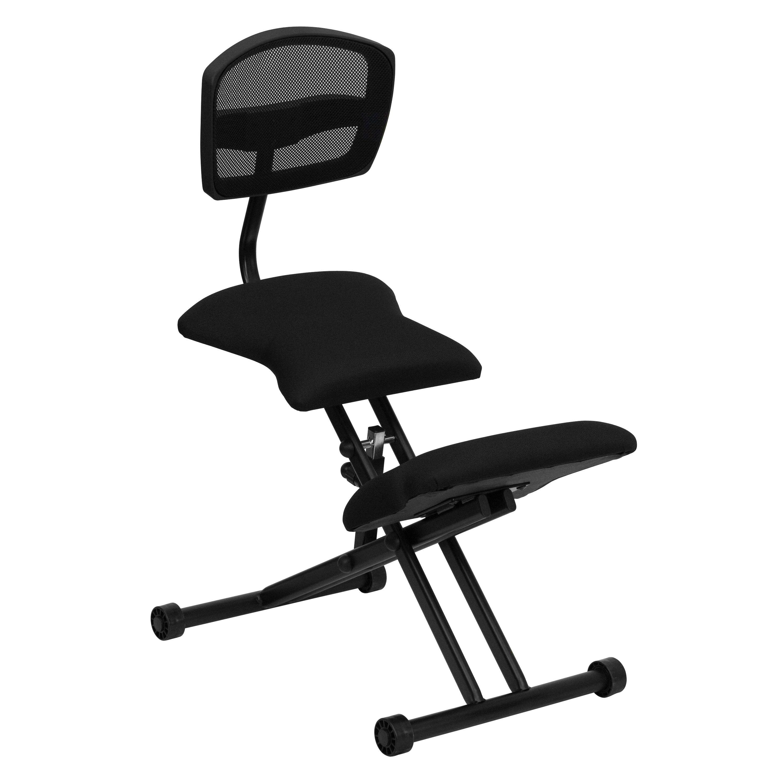 Flash Furniture WL 3440 GG Fabric Ergonomic Kneeling Chair With Mesh Back,  Black