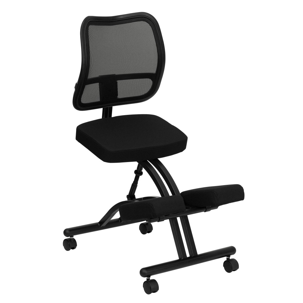 Flash Furniture WL-3520-GG Black Fabric Ergonomic Kneeling Chair with Mesh Back