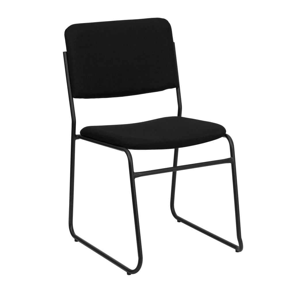 Flash Furniture XU-8700-BLK-B-30-GG Hercules Series 1500 Lb. High Density Black Fabric Stacking Chair with Sled Base