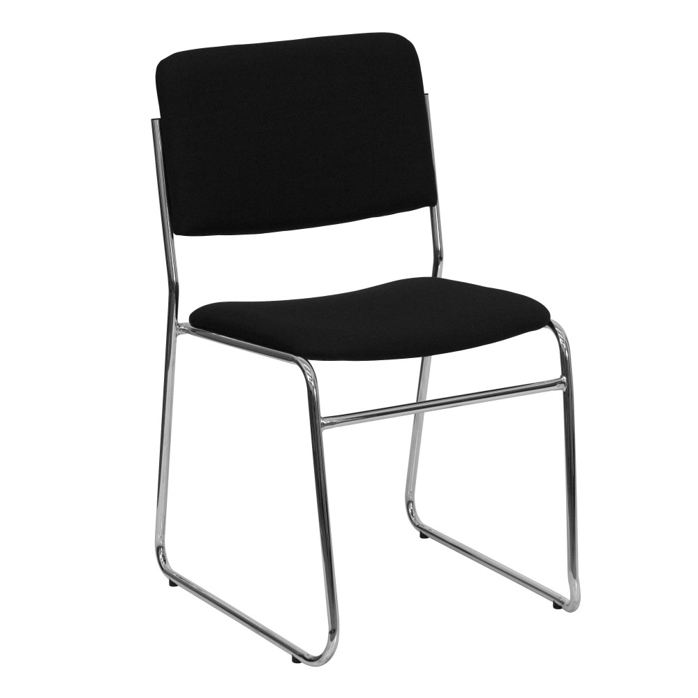 Black Fabric High Density Stacking Chair with Chrome Frame - Sled Base