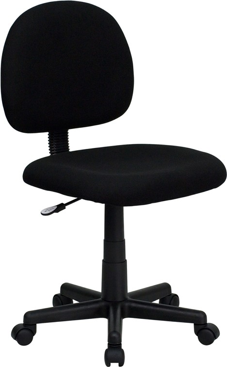 Flash Furniture BT-660-BK-GG Ergonomic Task Chair with Adjustable Arms, Black Fabric Mid Back
