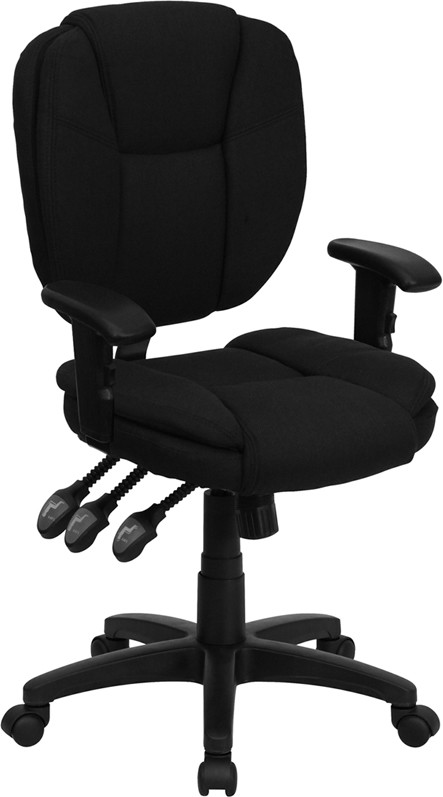 Flash Furniture GO-930F-BK-ARMS-GG Black Fabric Multi Function Task Chair with Arms