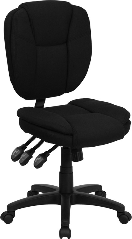Flash Furniture GO-930F-BK-GG Black Fabric Multi Function Task Chair