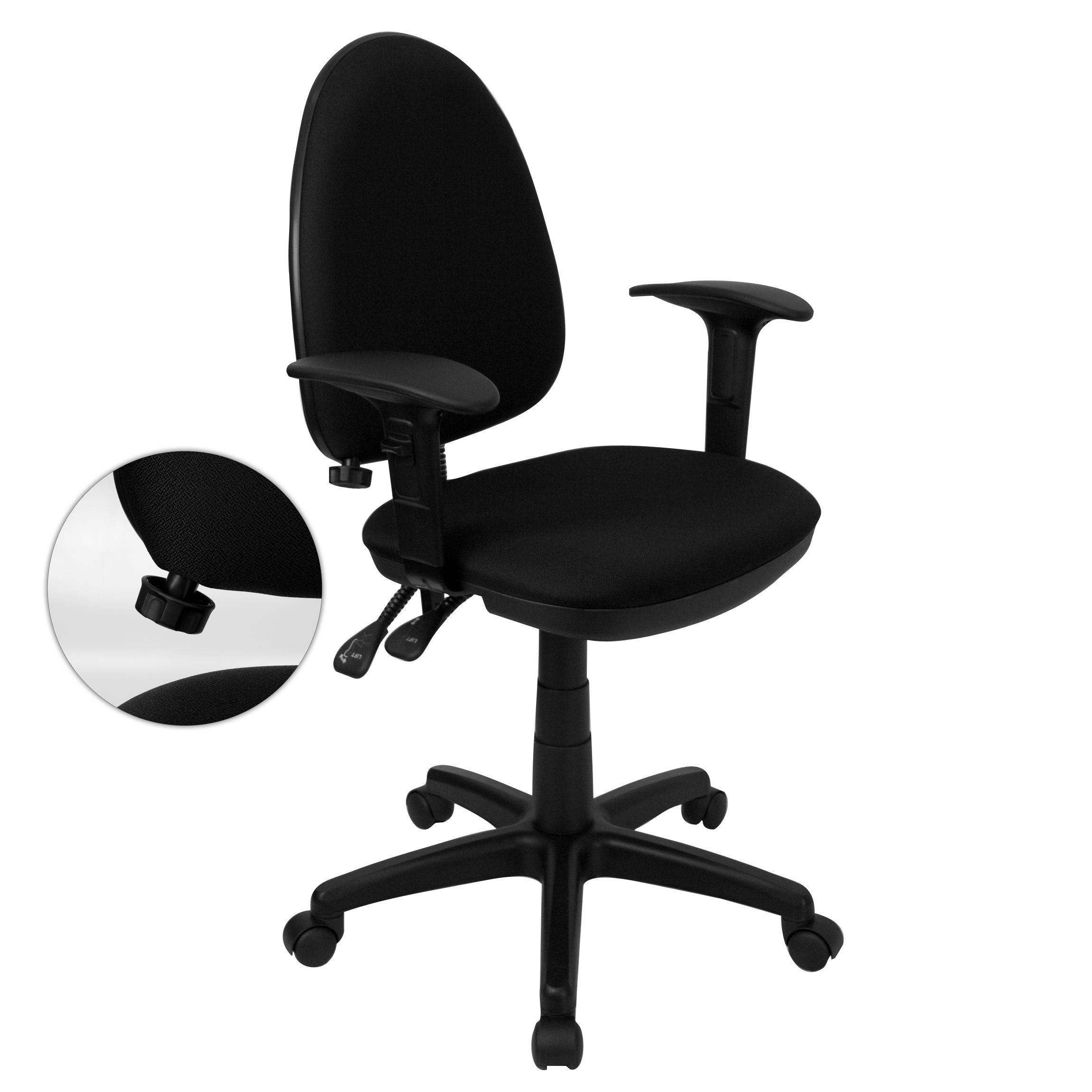 Black Fabric Multi-Function Task Chair with Adjustable Lumbar Support, Arms