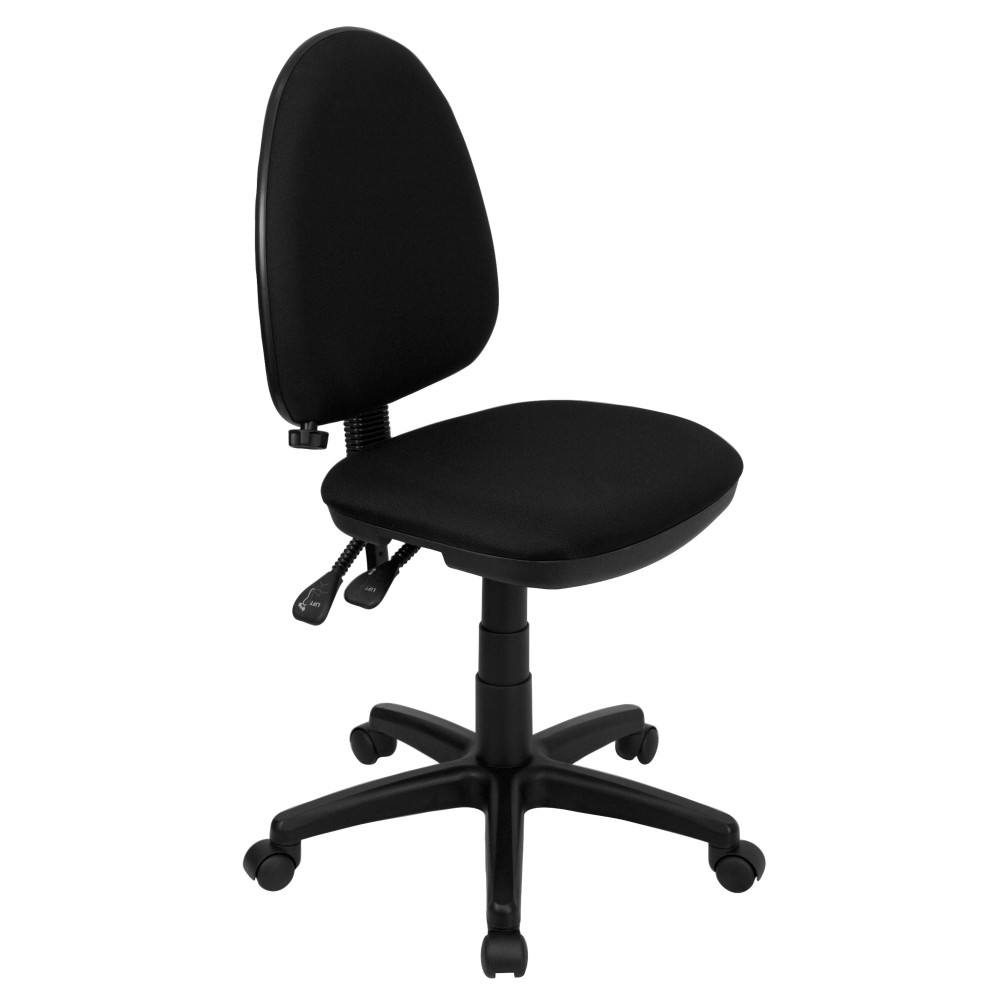 Black Fabric Multi-Function Task Chair with Adjustable Lumbar Support