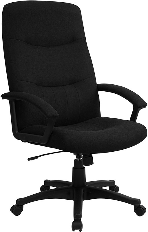 Flash Furniture BT-134A-BK-GG Black Fabric Upholstered High Back Executive Swivel Office Chair