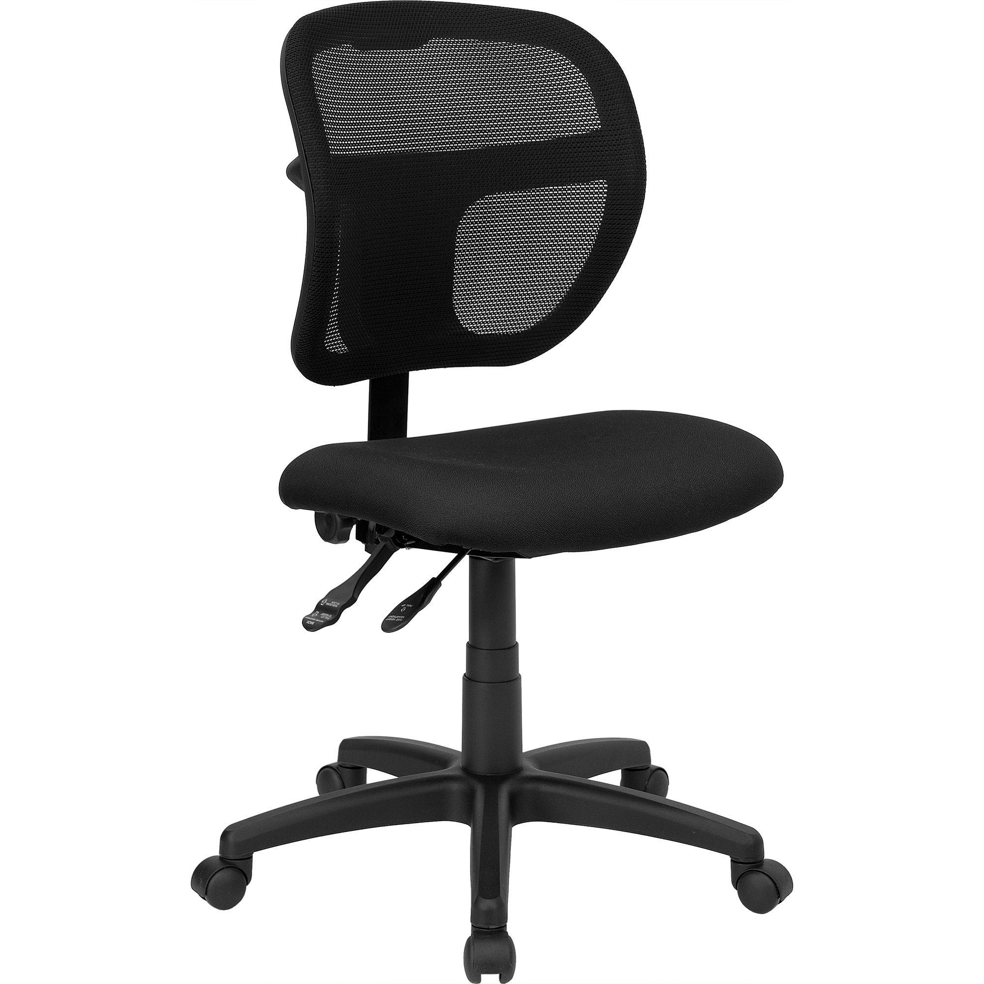Flash Furniture WL-A7671SYG-BK-GG Black Fabric and Mesh Task Chair