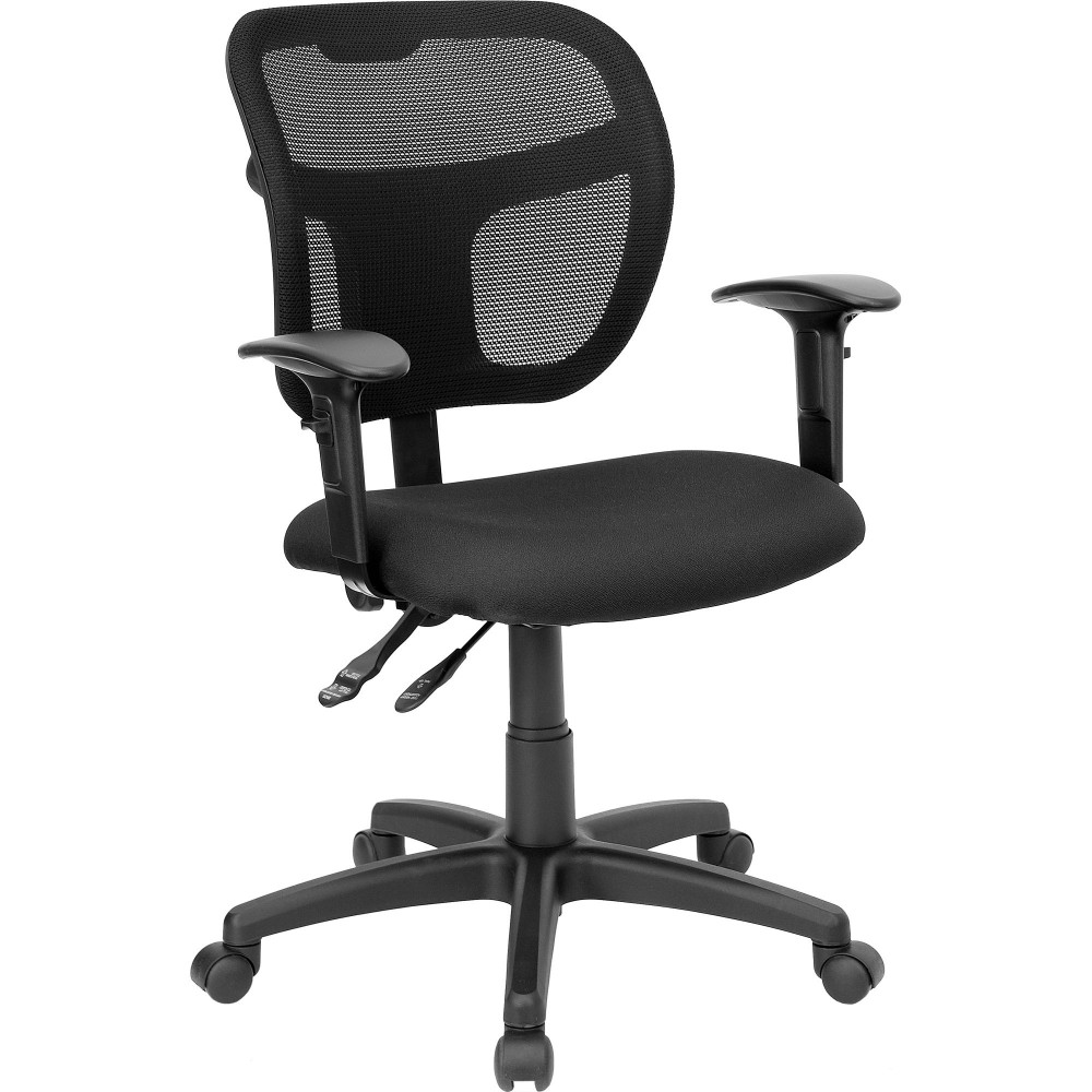 Flash Furniture WL-A7671SYG-BK-A-GG Black Fabric and Mesh Task Chair with Arms