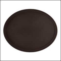 "G.E.T. Enterprises NS-2500-BK Black Non-Skid 25"" x 20"" Oval Tray"