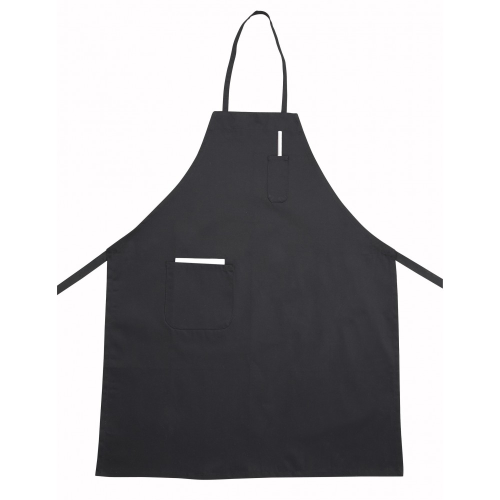 Black Full-Length Bib Apron With Pocket - 31 X 26