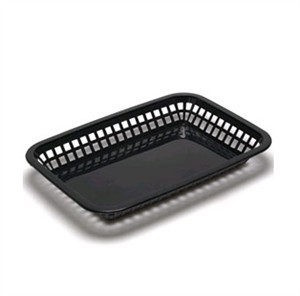 "TableCraft 1077BK Black Grande Plastic Platter Basket 10-3/4"" x 7-3/4"" x 1-1/2"""