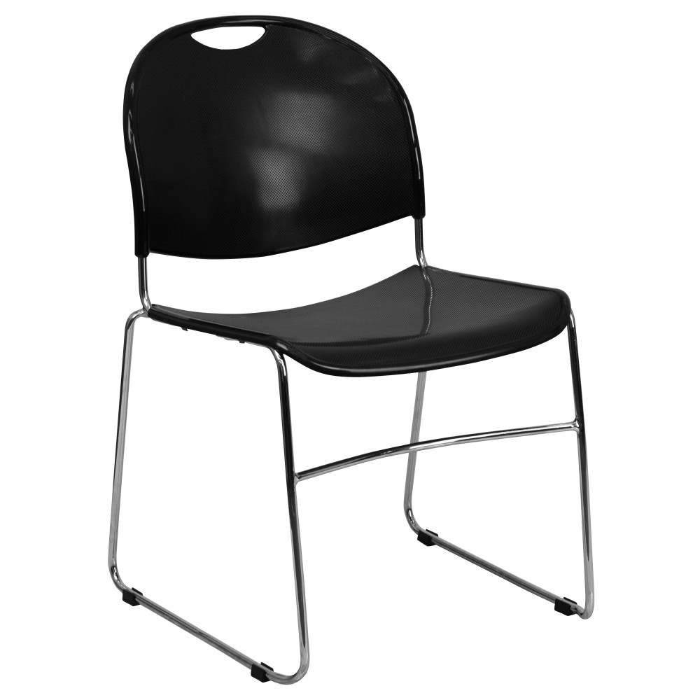 Black High Density, Ultra Compact Stack Chair - Chrome Frame