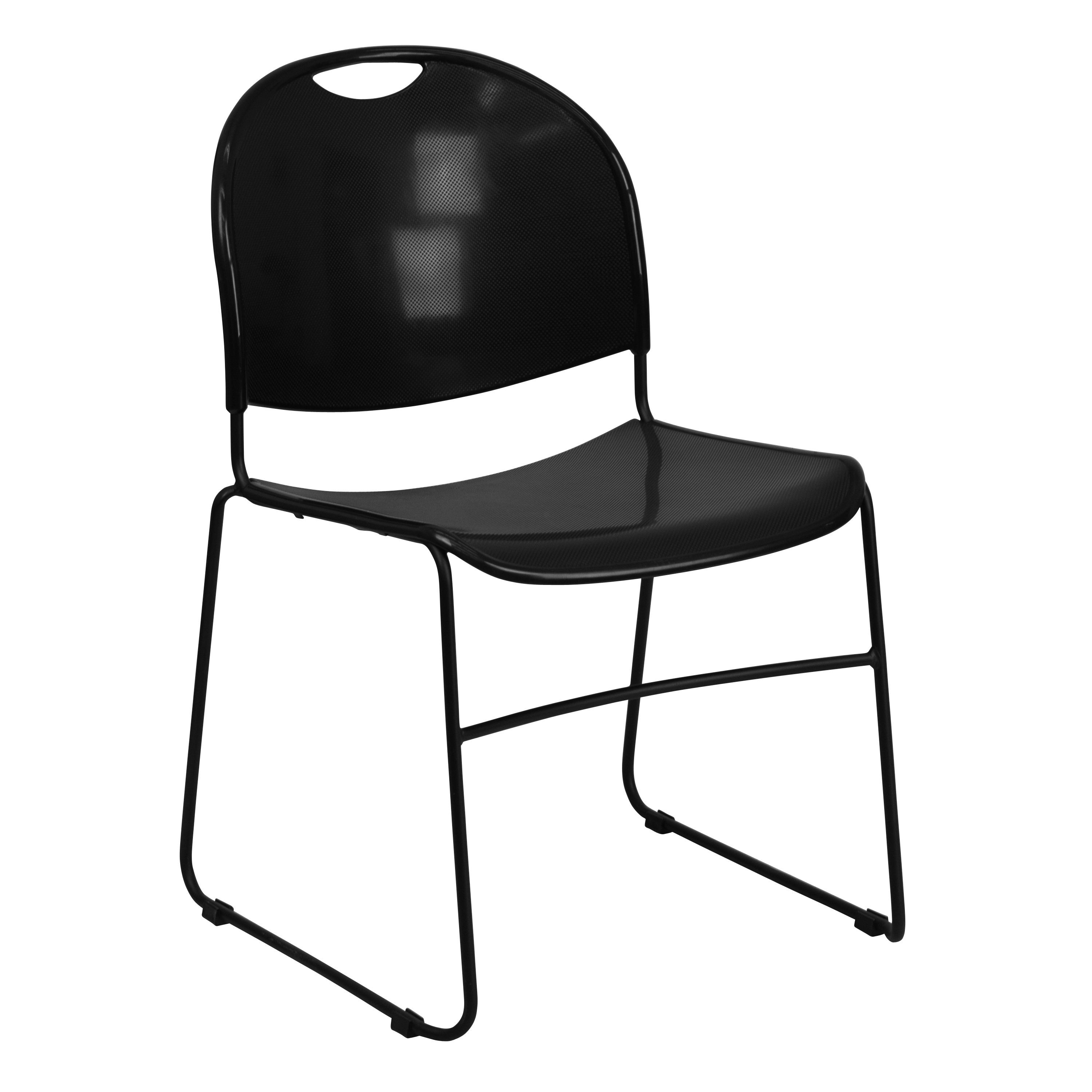 Flash Furniture rut-188-BK-gg HERCULES Series 880 Lb. Capacity Black Ultra Compact Stack Chair with Black Frame