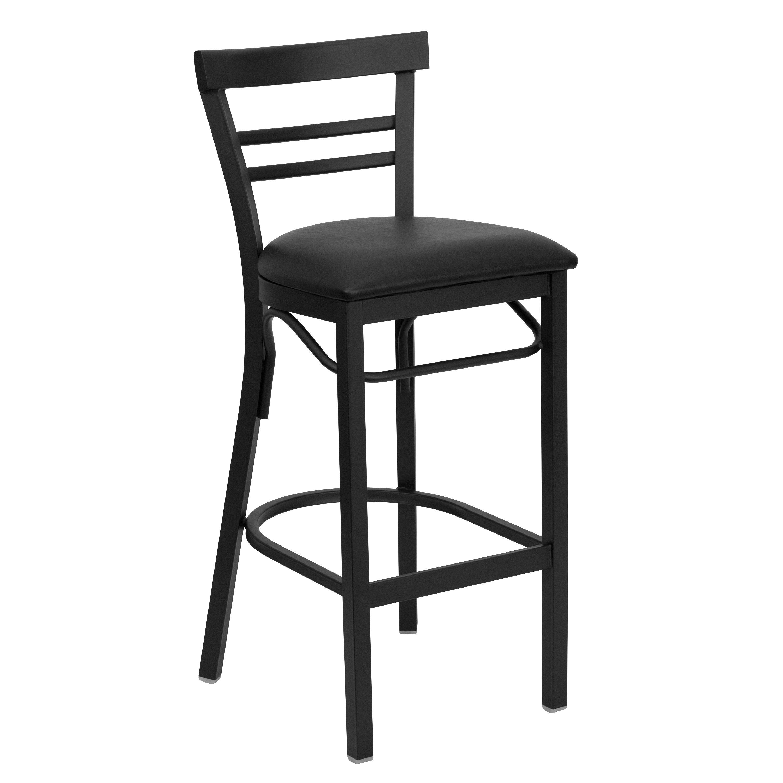 Black Ladder Back Metal Bar Stool with Black Vinyl Seat