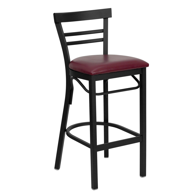 Flash Furniture XU-DG6R9BLAD-BAR-BURV-GG Black Two-Slat Ladder Back Metal Bar Stool with Burgundy Vinyl Seat