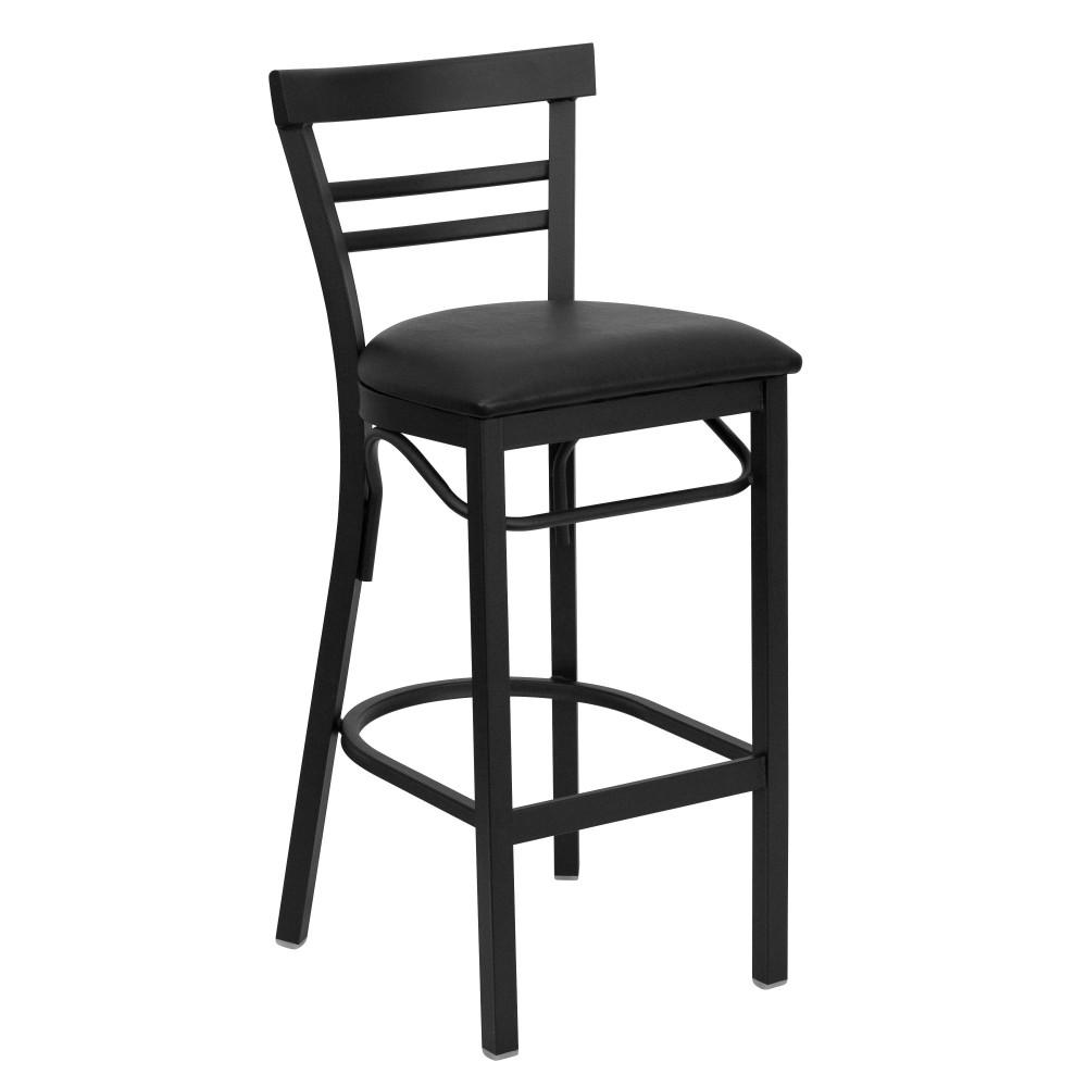 Flash Furniture xu-dg6r9blad-bar-blkv-gg Black Ladder Back Metal Bar Stool with Black Vinyl Seat