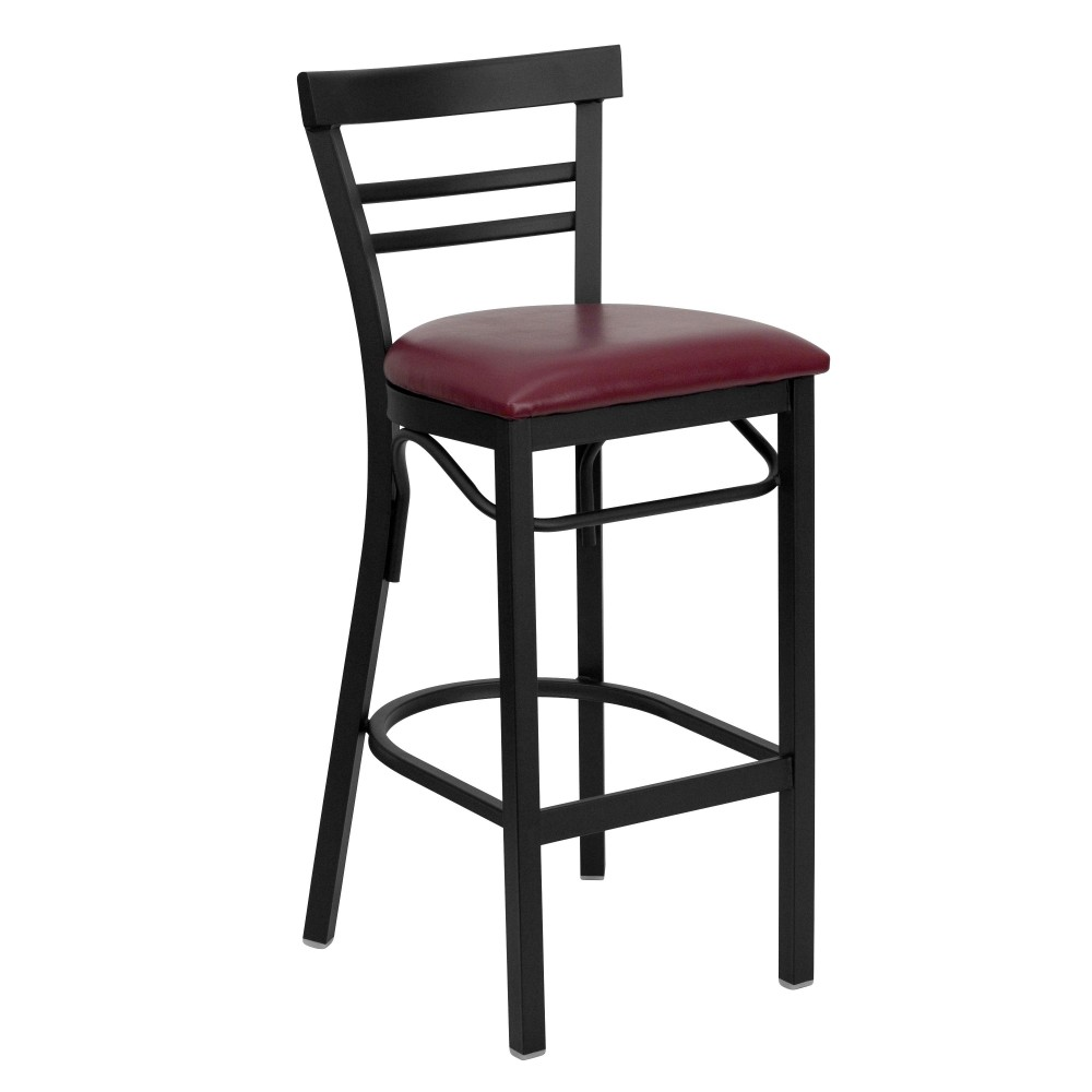 Flash Furniture xu-dg6r9blad-bar-burv-gg Black Ladder Back Metal Bar Stool with Burgundy Vinyl Seat
