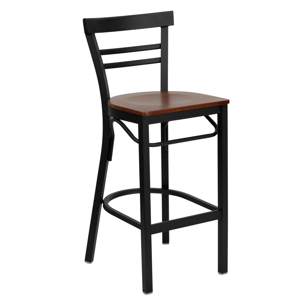 Black Ladder Back Metal Bar Stool with Cherry Wood Seat