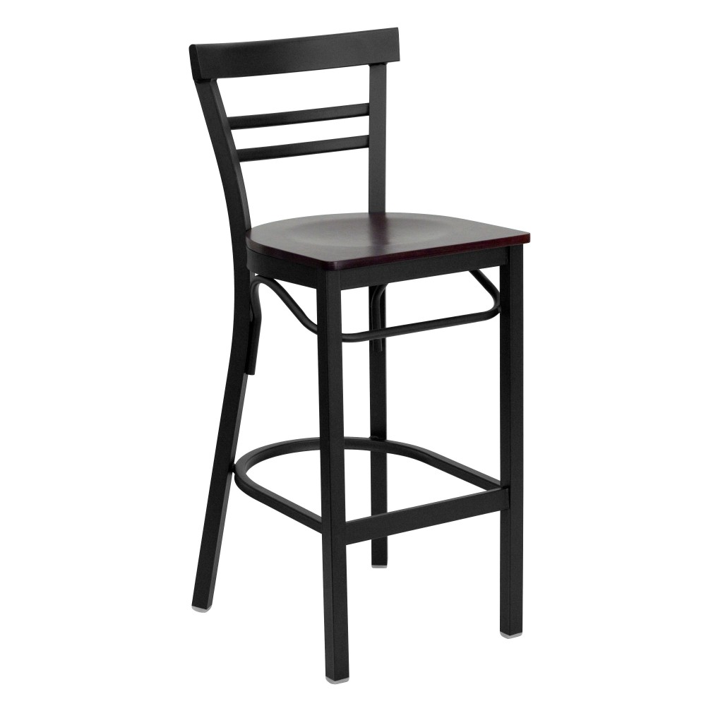 Black Ladder Back Metal Bar Stool with Mahogany Wood Seat