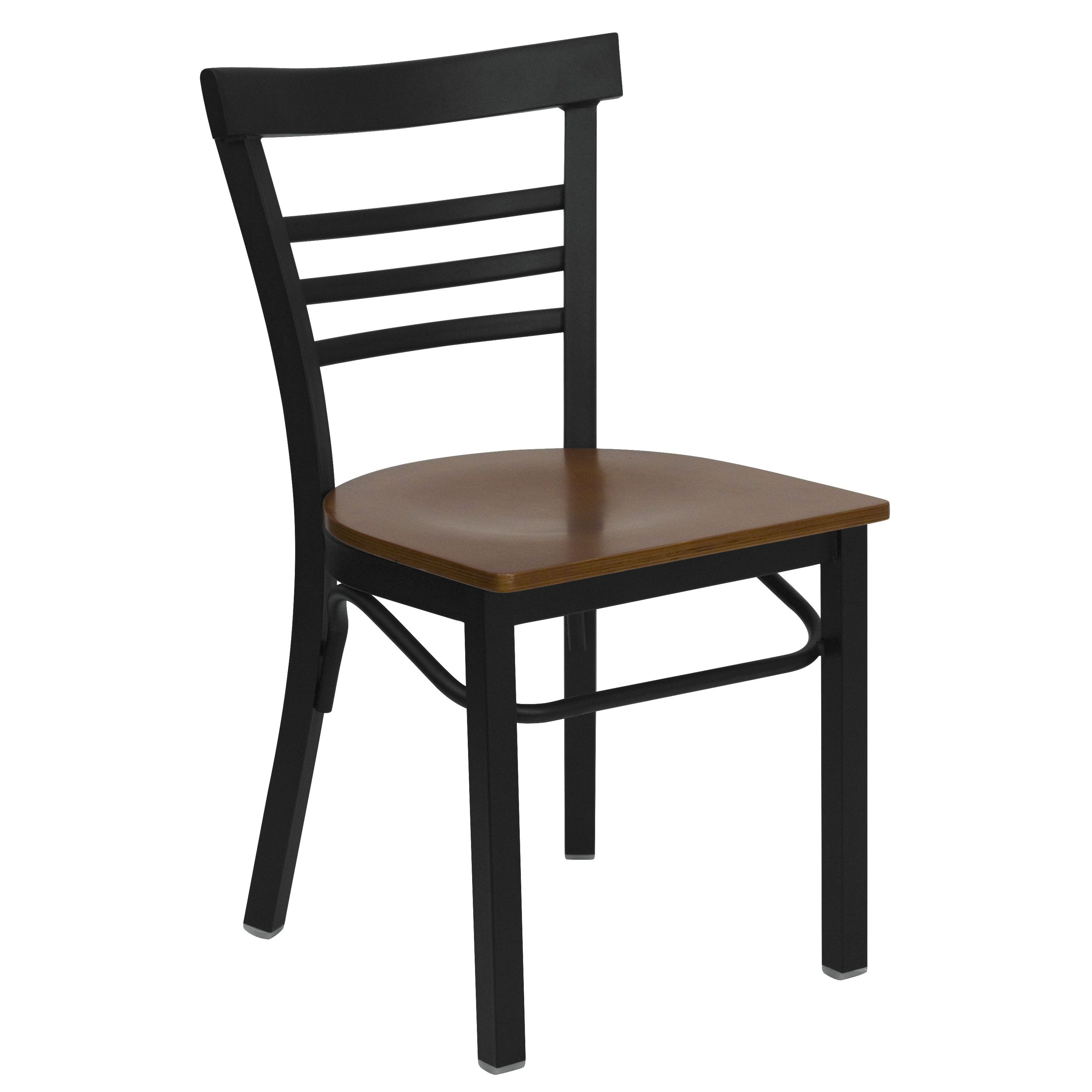 Black Ladder Back Metal Chair with Cherry Wood Seat