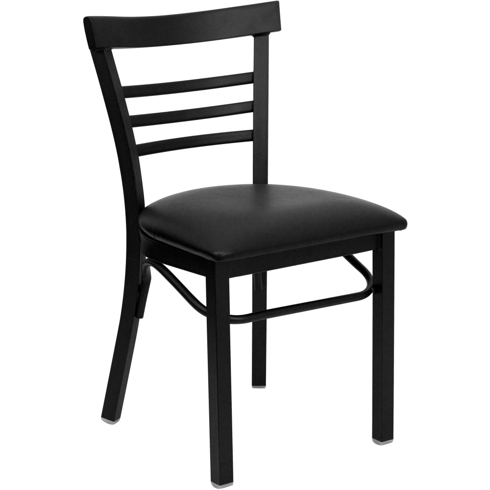 Flash Furniture XU-DG6Q6B1LAD-BLKV-GG Black Ladder Back Metal Chair with Black Vinyl Seat