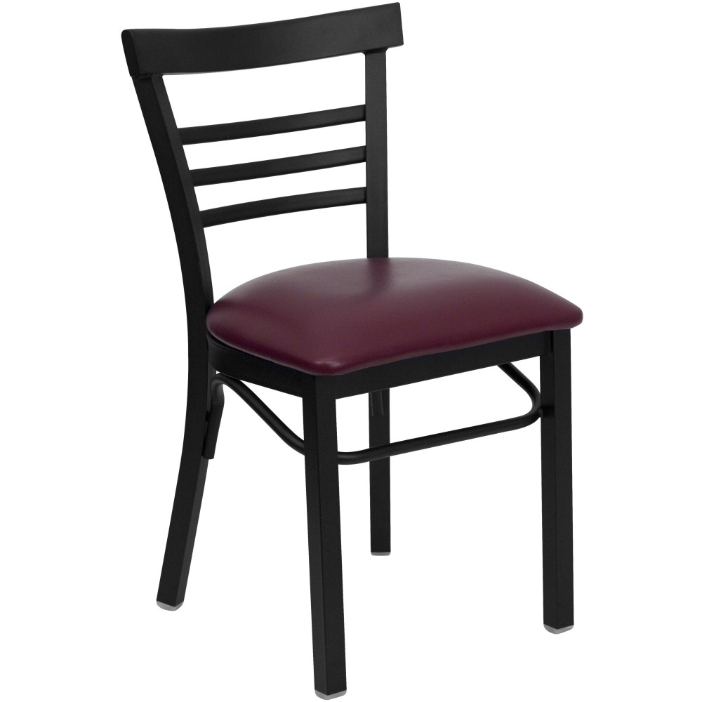 Black Ladder Back Metal Chair with Burgundy Vinyl Seat