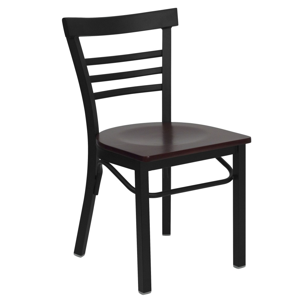 Black Ladder Back Metal Chair with Mahogany Wood Seat