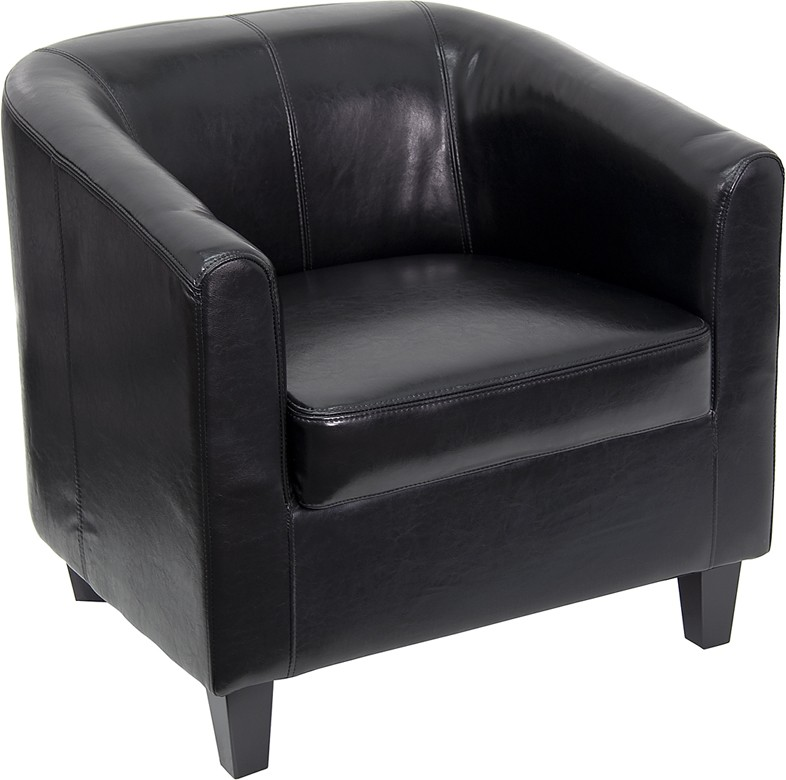 Black Leather Barrel Back Club Chair