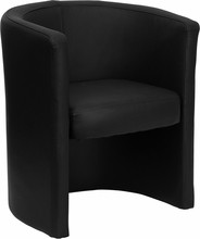 Black Leather Barrel-Shaped Guest / Reception Chair