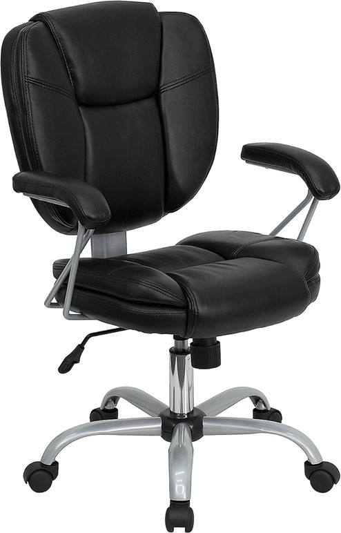 Black Leather Computer Task Chair