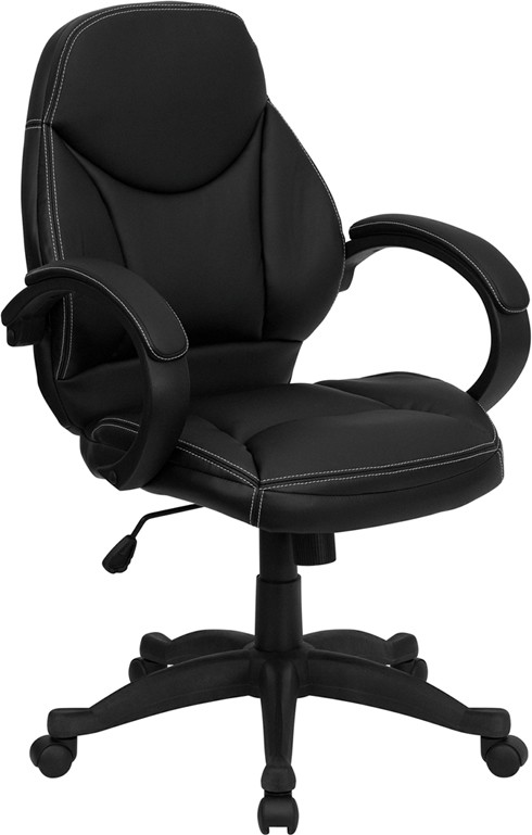 Black Leather Contemporary Mid Back Office Chair