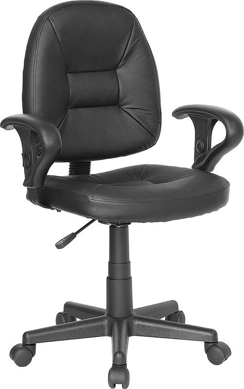 Flash Furniture BT-682-BK-GG Black Leather Task Chair with Arms