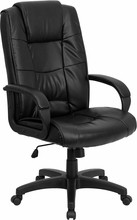 Flash Furniture GO-5301B-BK-LEA-GG Black Leather Executive High Back Office Chair
