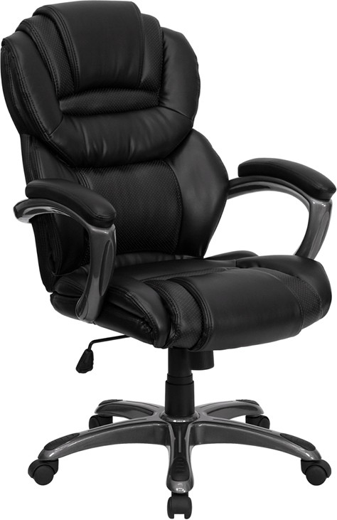 Flash Furniture GO-901-BK-GG Black Leather Executive Office Chair with Leather Padded Loop Arms
